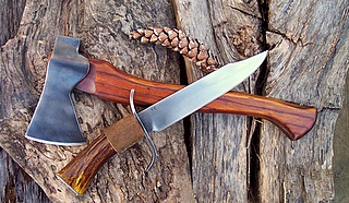 mountain man bowie and hand-forged axe