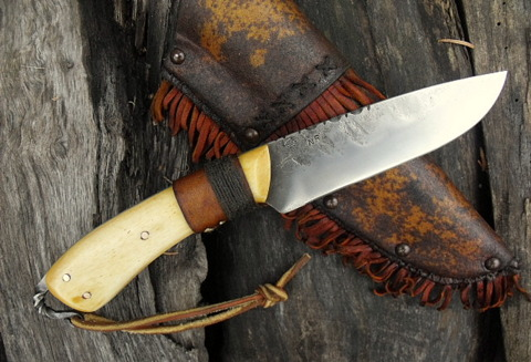 frontier belt knife with bone scales