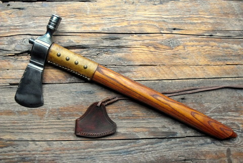 native american indian pipe axe