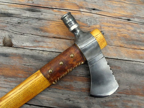 hand-forged, period pipe-axe with a turned bowl