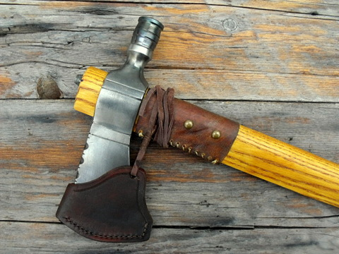 pipe-axe with a leather sheath