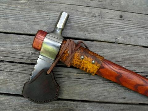 custom tomahawk with a leather sheath