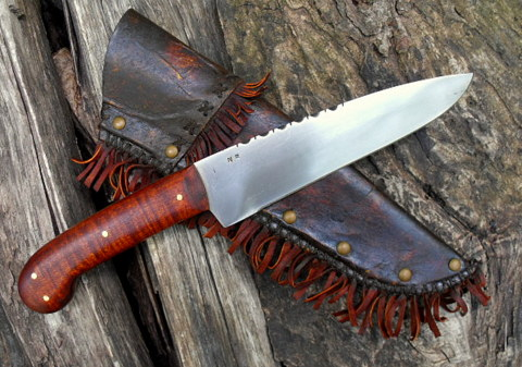 hand-forged French pistol grip belt knife