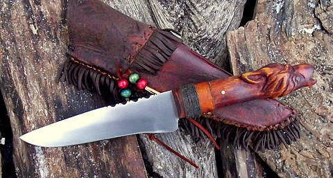 frontier belt knife with rawhide sheath and carved grip